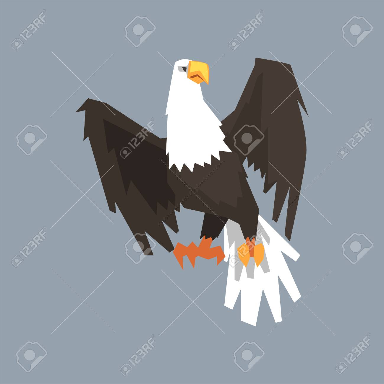 North American Bald Eagle Symbol Of Usa Vector Illustration