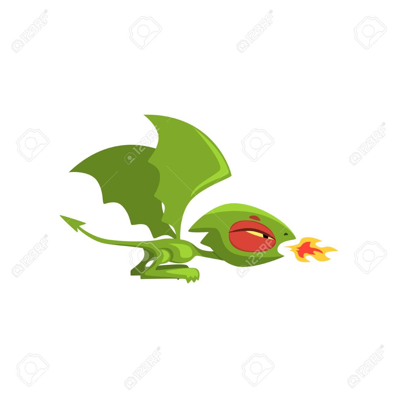 Enojado Pequeño Dragón Respirando Fuego. Criatura De Cuento De Hadas ...