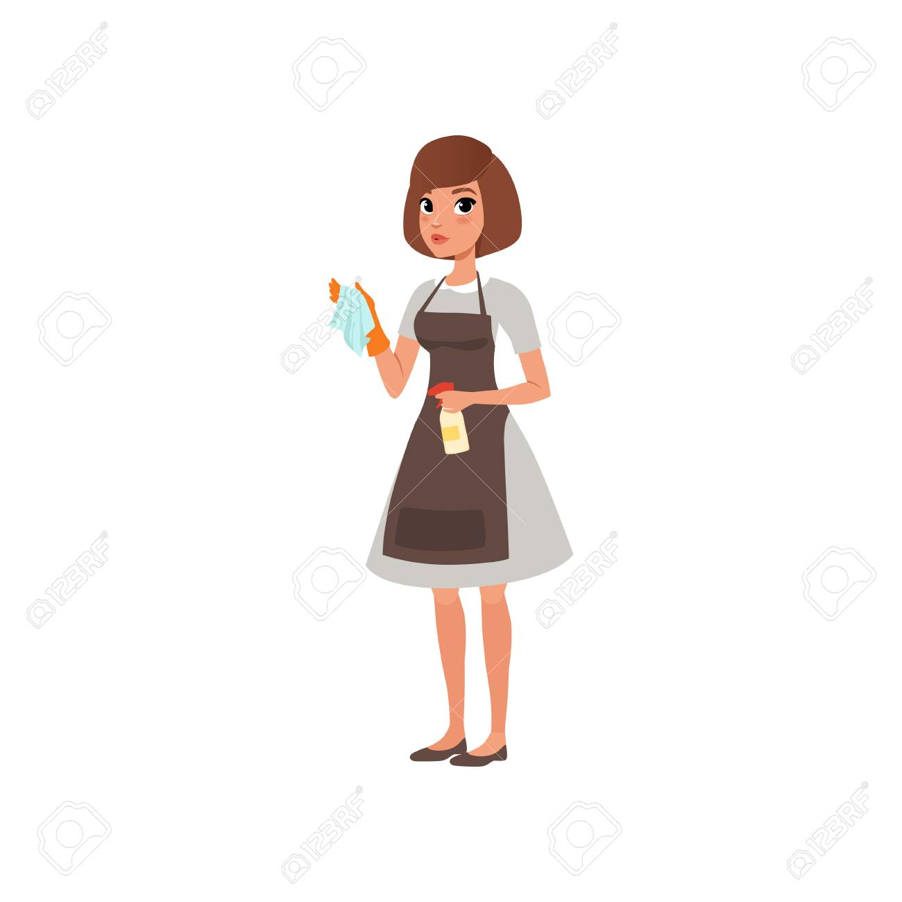 Cartoon woman character holding rag and spray bottle with cleaning liquid. Hotel maid service. Domestic worker. Girl in gray dress, brown apron and orange glove. Flat vector design isolated on white. - 93380119