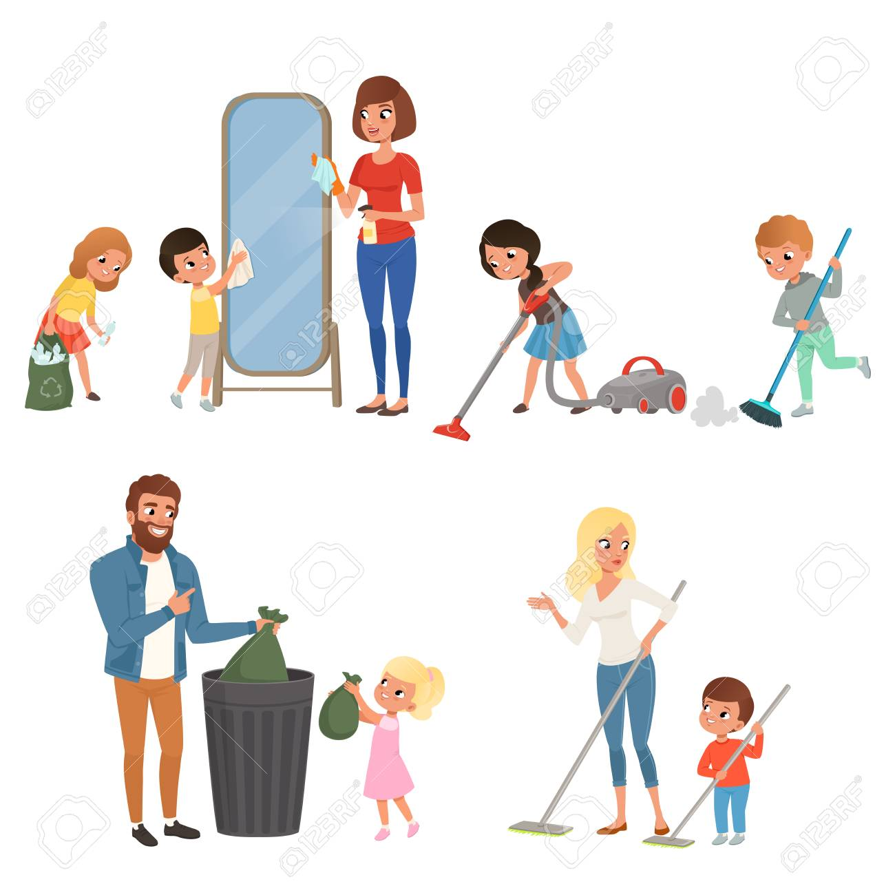 Children helping their parents with housework. Sweeping, vacuuming, washing floor, throwing out garbage, cleaning mirror. Cartoon kids characters. Flat vector design - 93531266