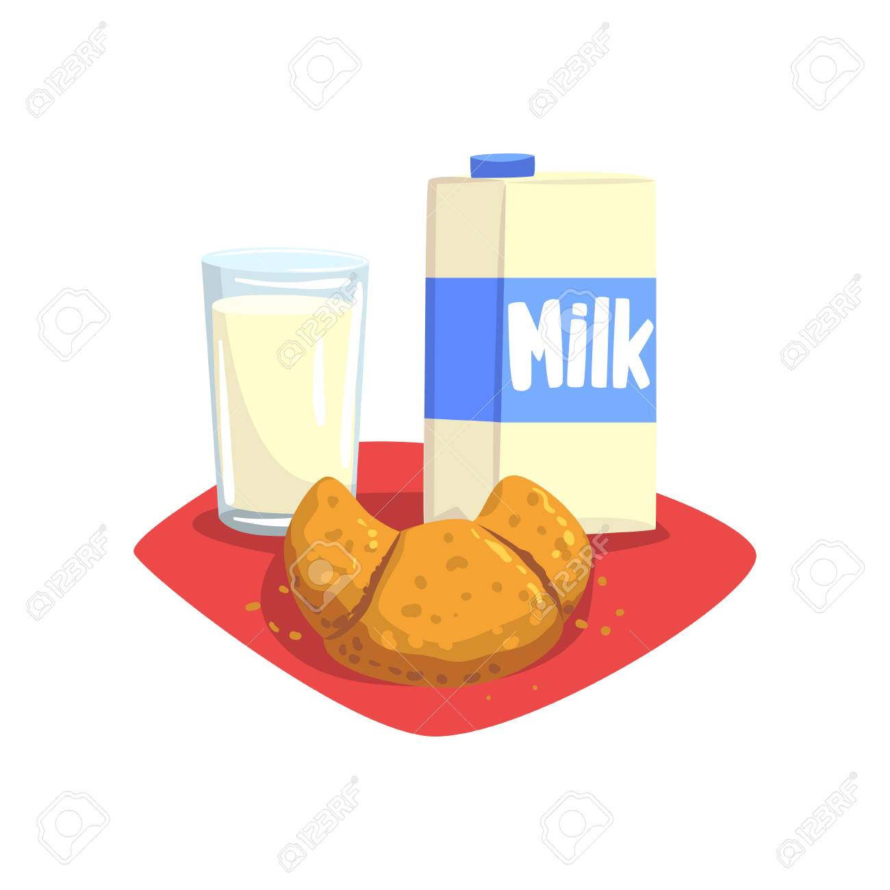Transparent Glass Of Fresh Milk And Sweet Croissant On Red Table Napkin Healthy