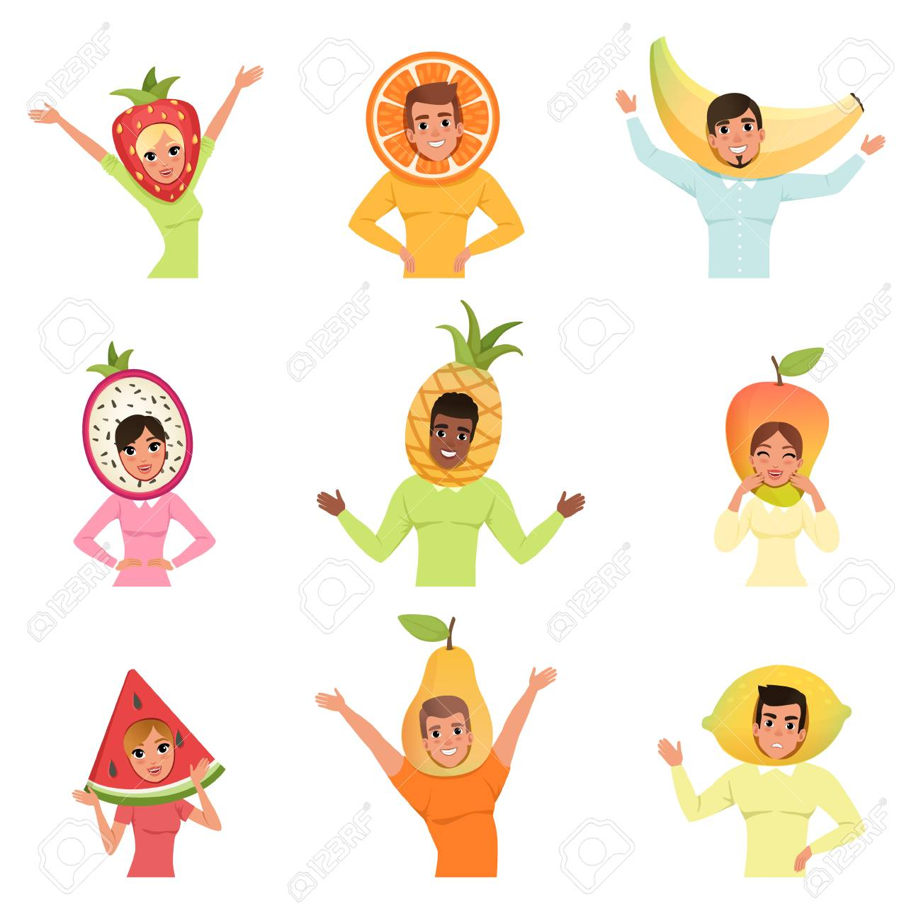 2fd13823d5e64 Isolated flat vector illustration. Collection of men and women wearing  different fruit hats. Strawberry