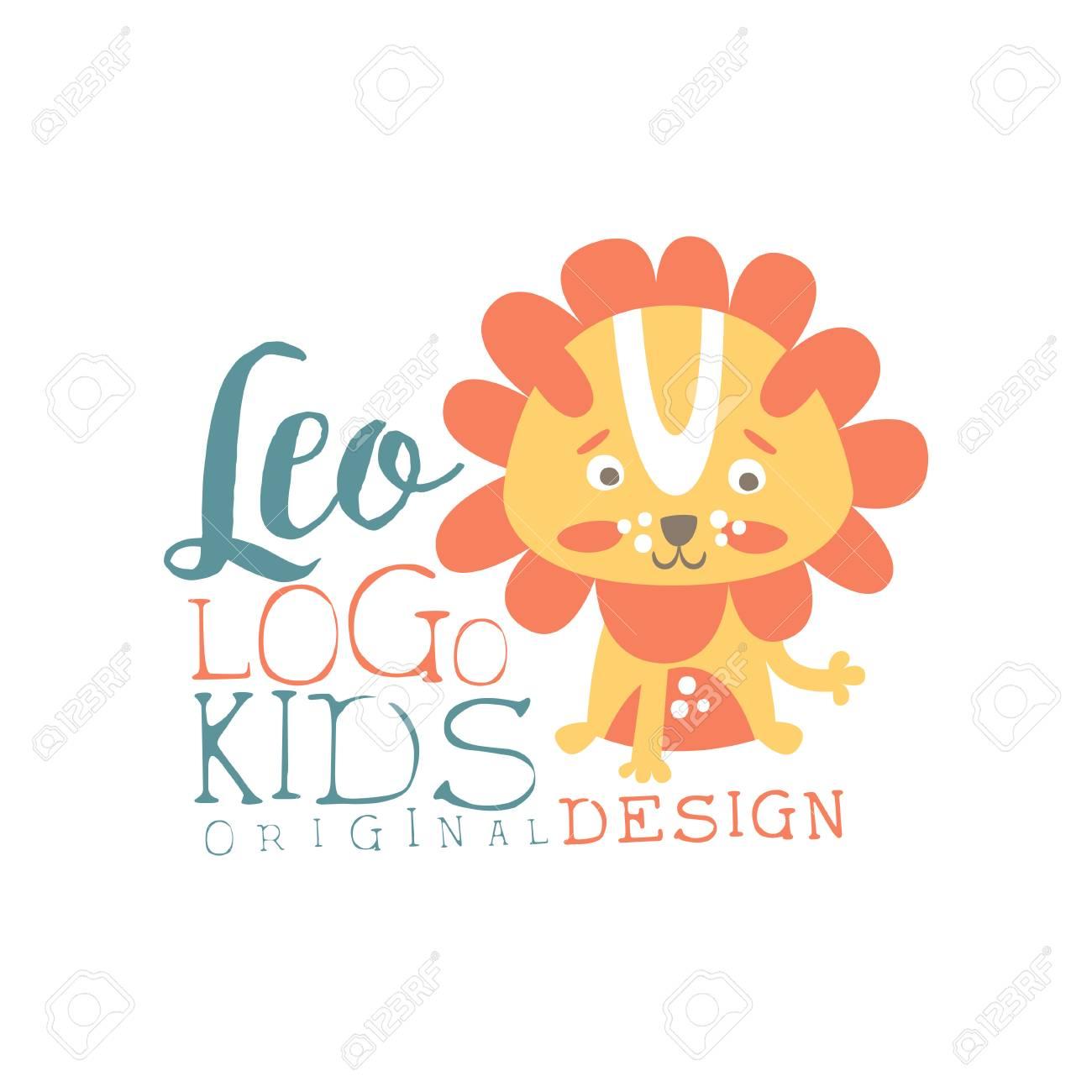 Leo kids logo original design, baby shop label, fashion print for kids wear,
