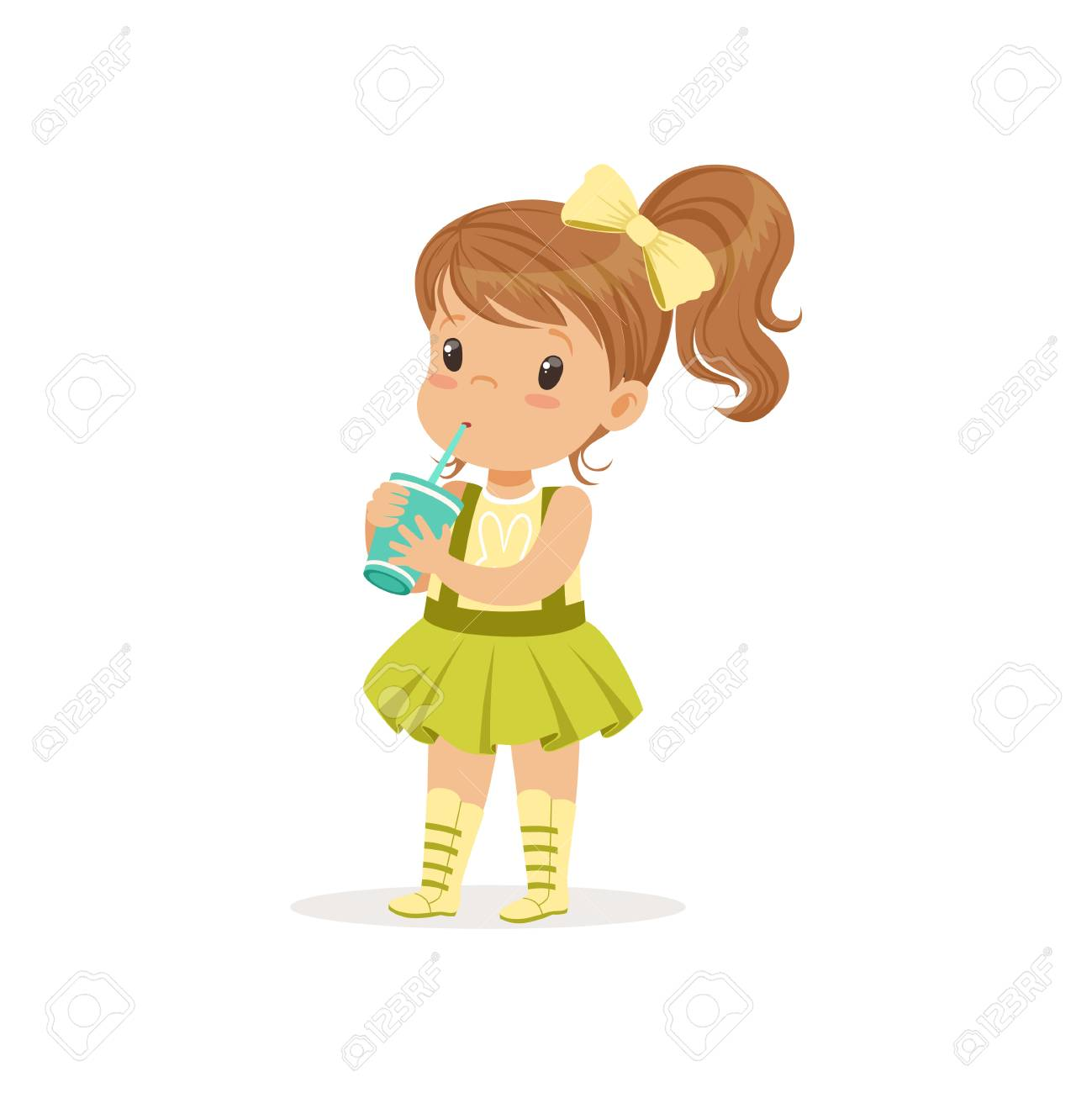 Cute Brown-haired Girl Drinking Her Refreshing Cocktail. Cartoon.. Royalty Free Cliparts, Vectors, And Stock Illustration. Image 94145407.