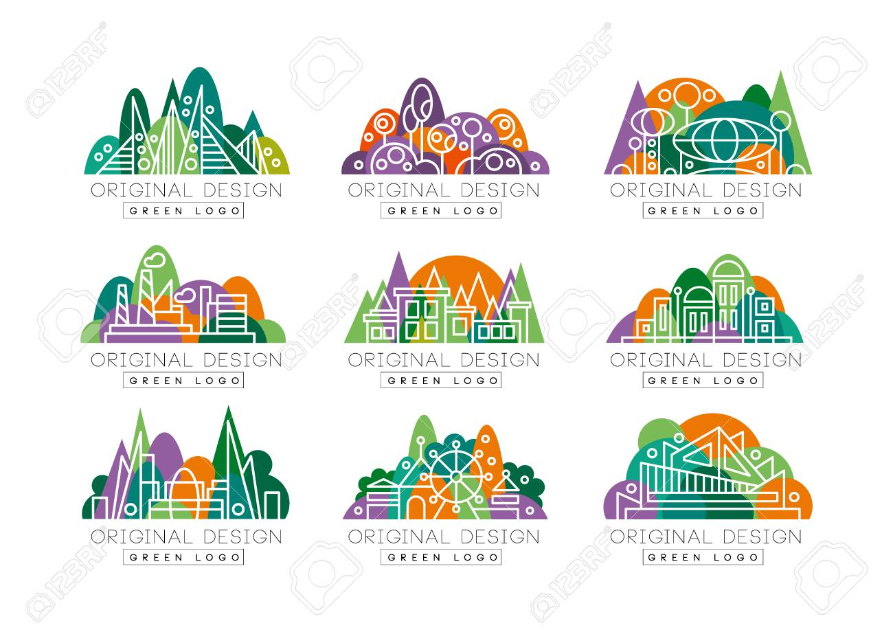 Green Logos Set Abstract Icons With Amusement Park Factory Royalty Free Cliparts Vectors And Stock Illustration Image 94353907