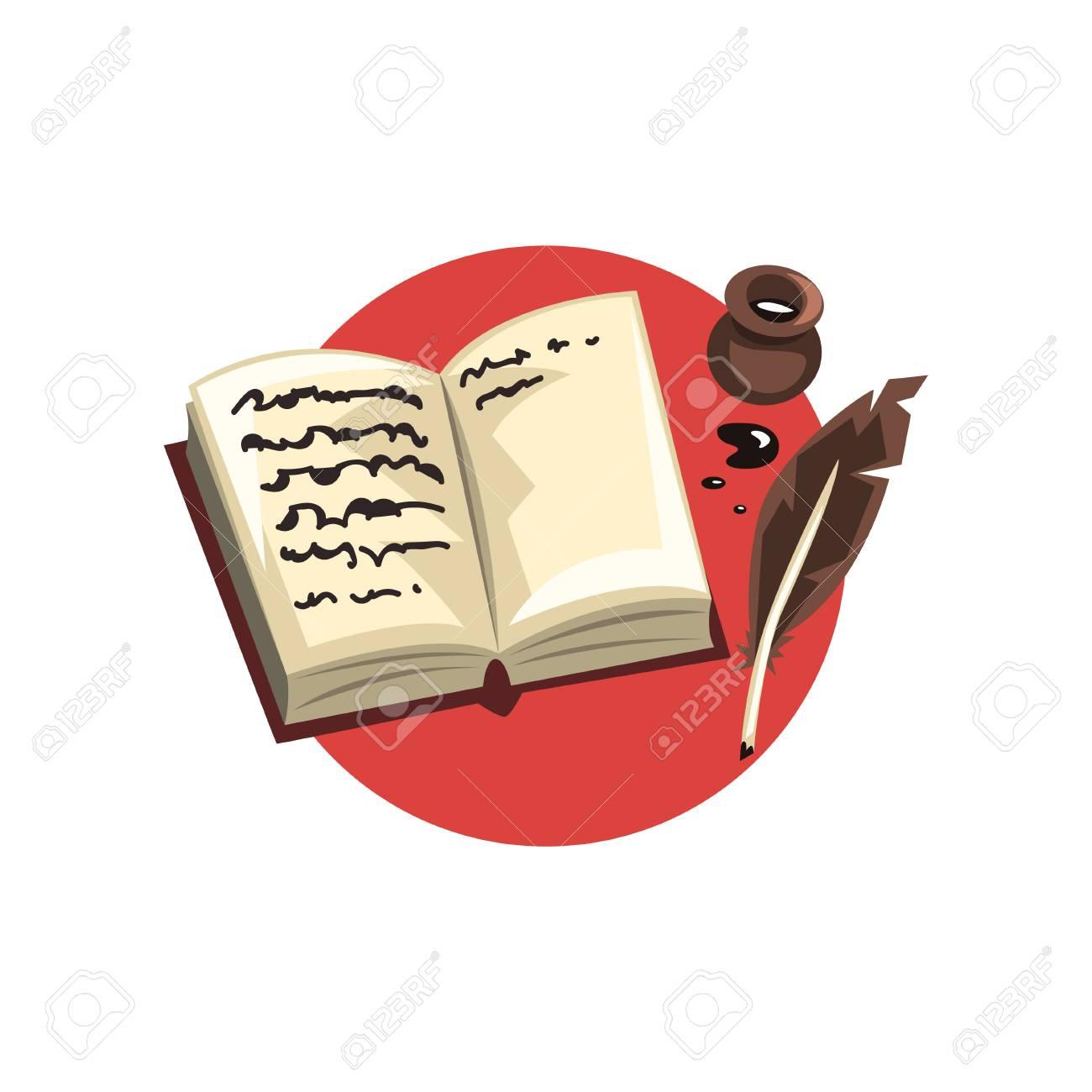 Symboles De La Profession D écrivain Plume Vintage Encre Et Vecteur De Dessin Animé De Livre Illustration Sur Un Motif Blanc