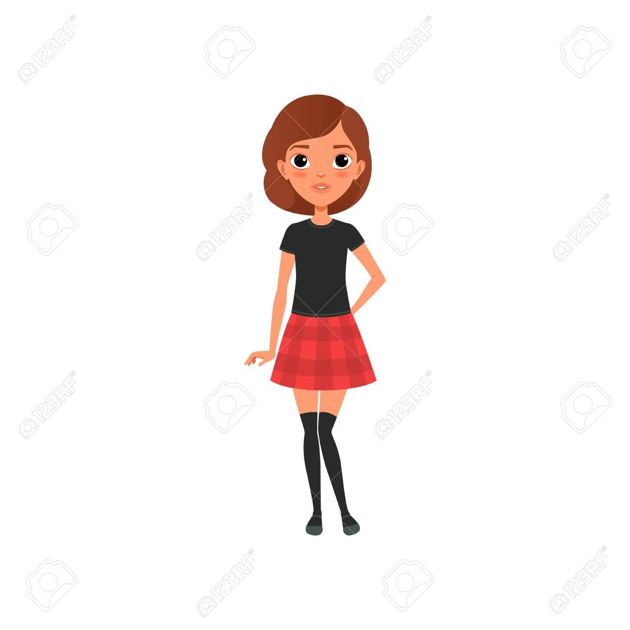Beautiful Brunette Girl In Stylish Outfit Black T Shirt Knee Royalty Free Cliparts Vectors And Stock Illustration Image 94353974