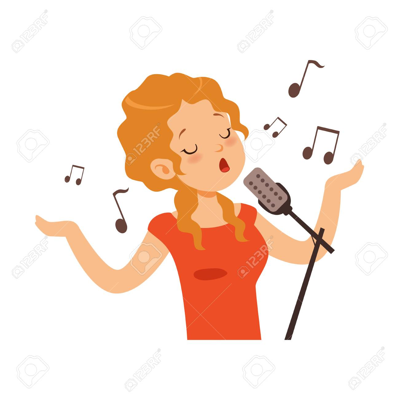 Girl singing with microphone, singer character cartoon vector Illustration on a white background - 94314987