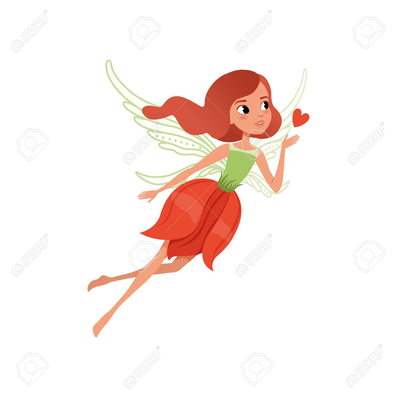 Cartoon fairy character with red hair and flower shaped dress. Beautiful mythical creature with magic wings, little girl in flying action flat vector illustration for children's book, print or card. - 94315196