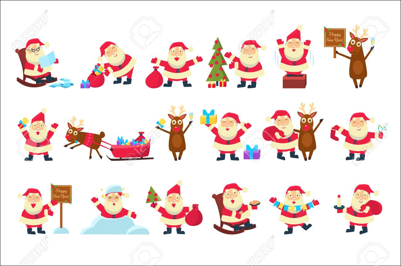 Set With Funny Santa Claus In Different Poses. Merry Christmas ...