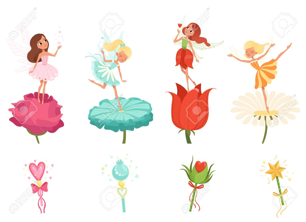 Set of little fairies hovering over beautiful flowers. Cartoon..