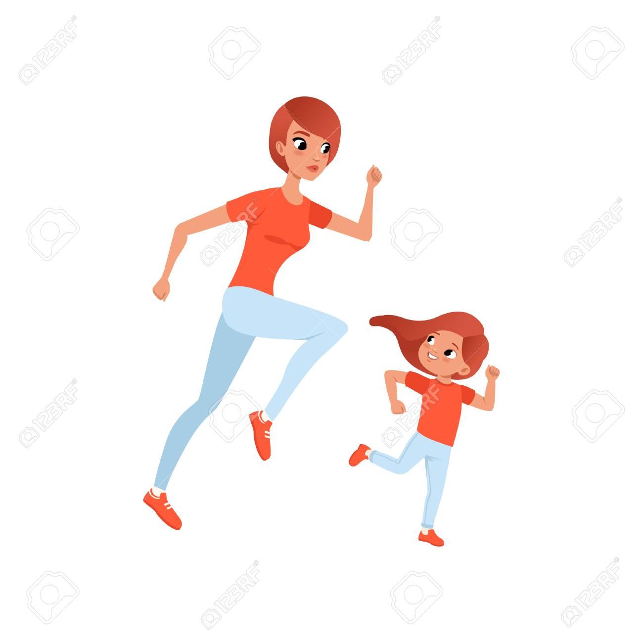 Mamma E Figlia Disegno.Vettoriale Madre E Figlia Piccola Mattina Jogging Attivita