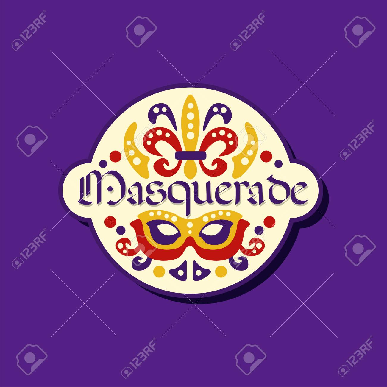 Colorful logo or label for masquerade  Carnival stickers with