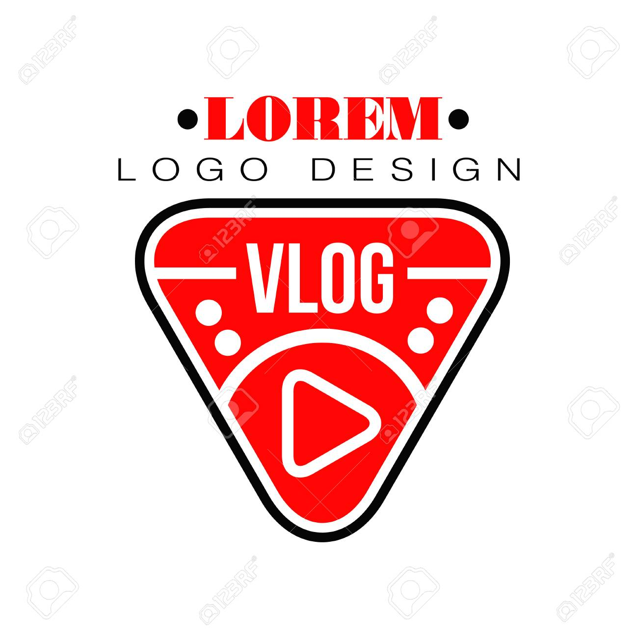 Geometric Logo For Vlog Or Youtube Channel In Shape Of Red Play