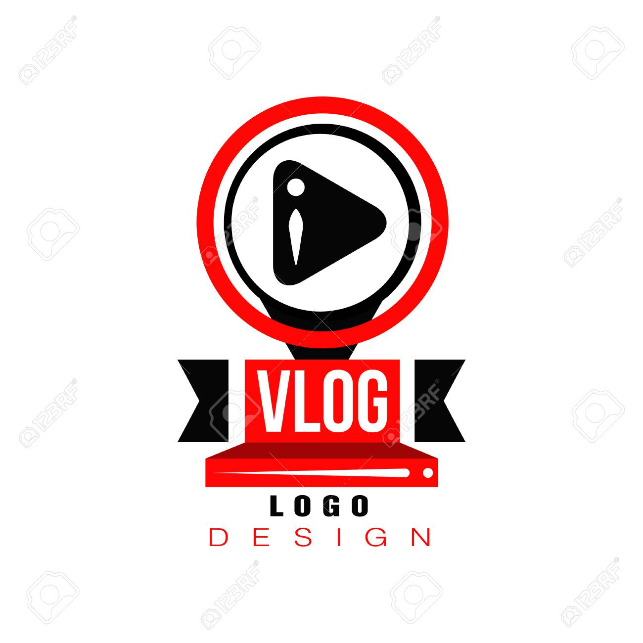 Trendy Logo With Play Button In Circles Original Badge For Online