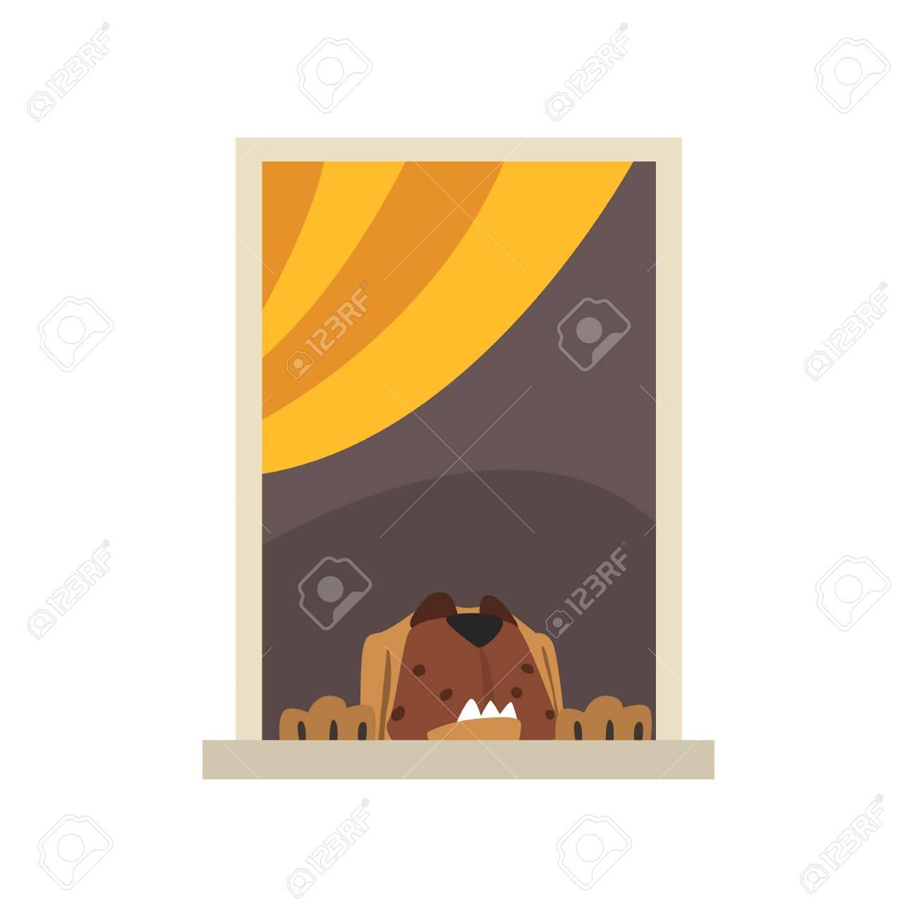 Cao Home Marrom Grande Que Olha Atraves Da Janela Personagem De