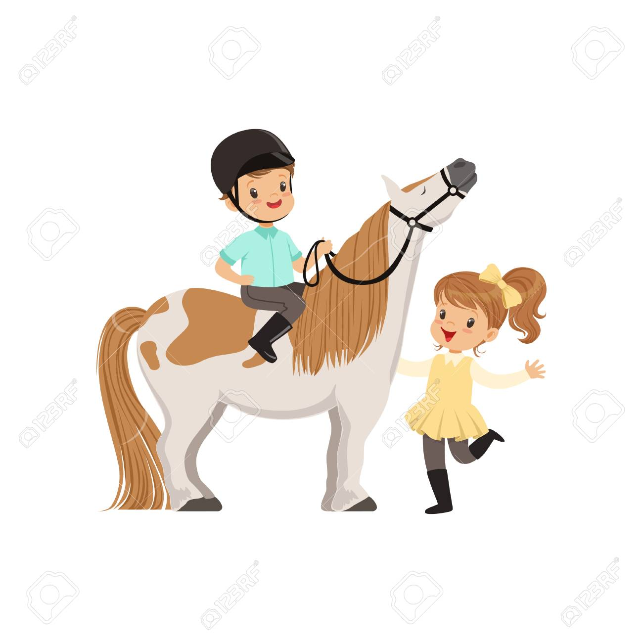 Cheerful little boy jockey sitting on pony horse, beautiful girl standing next to him, children's equestrian sport vector Illustration - 95688729