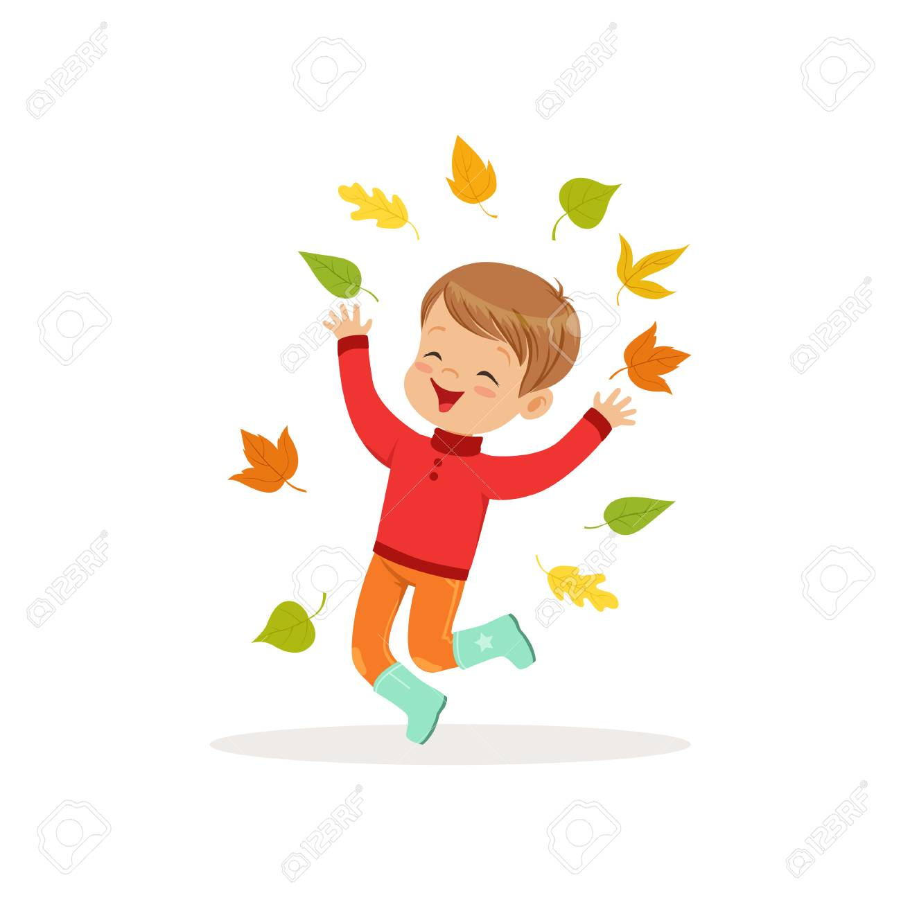 Cute little boy in warm clothing jumping and throwing autumn leaves up 09bbe52d5087b