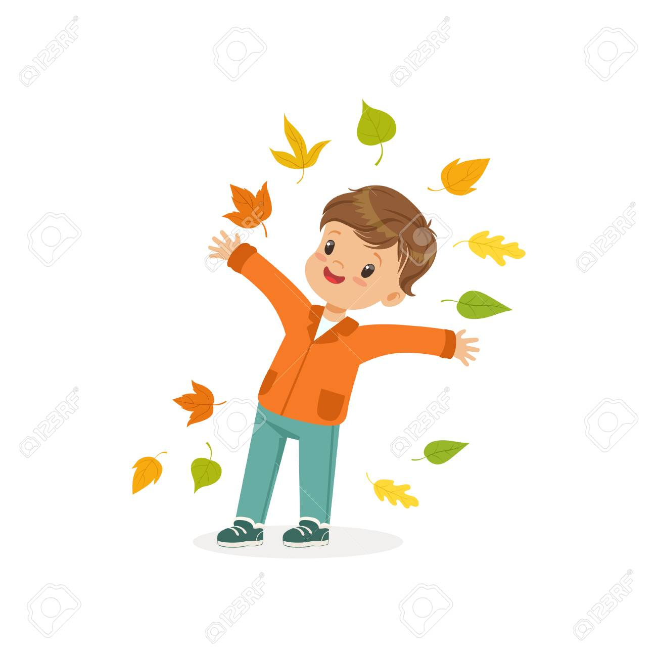 Cute Little Boy Throwing Colorful Autumn Leaves Up 32a1b8fb6626b