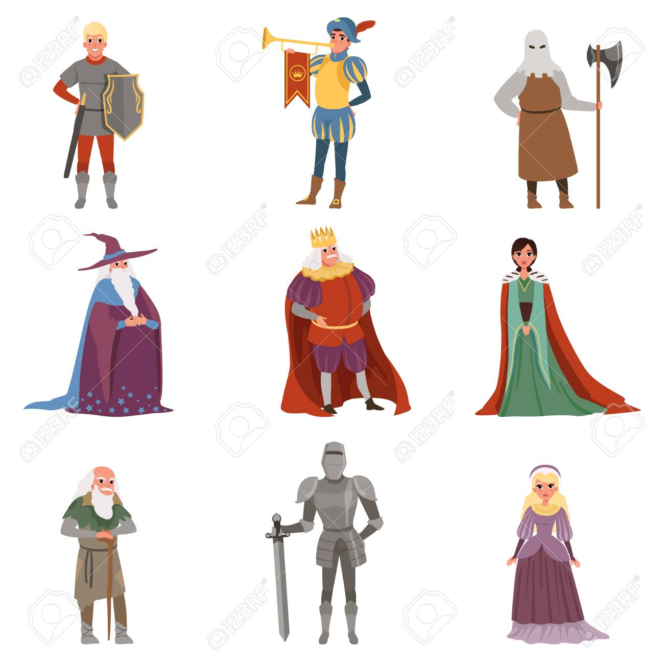 Medieval people characters set, European middle ages historic period elements vector Illustrations on a white background - 95462615