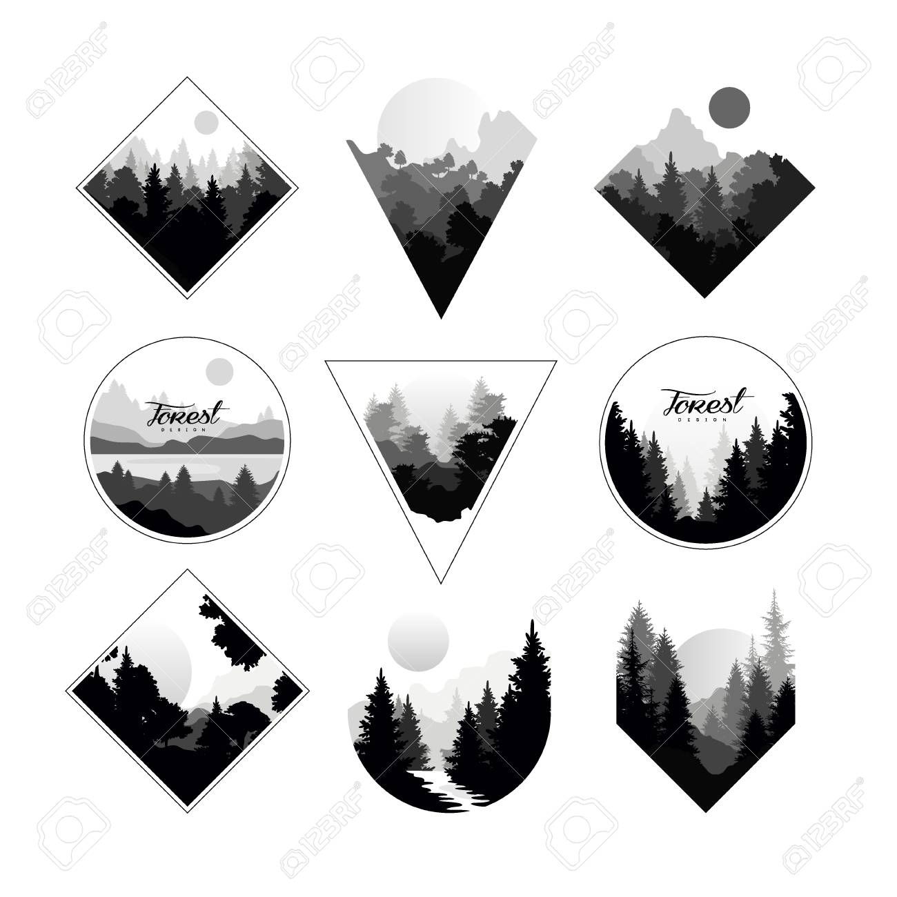 Set of monochrome landscapes in geometric shapes circle, triangle, rhombus. Natural sceneries with wild pine forests. - 95809314