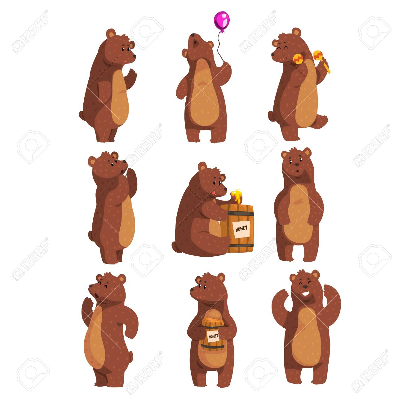 Set with funny bear. Forest animal waving by paw, holding balloon, dancing, howling, calling someone, eating honey from wooden barrel, smiling. Flat vector design - 95856544