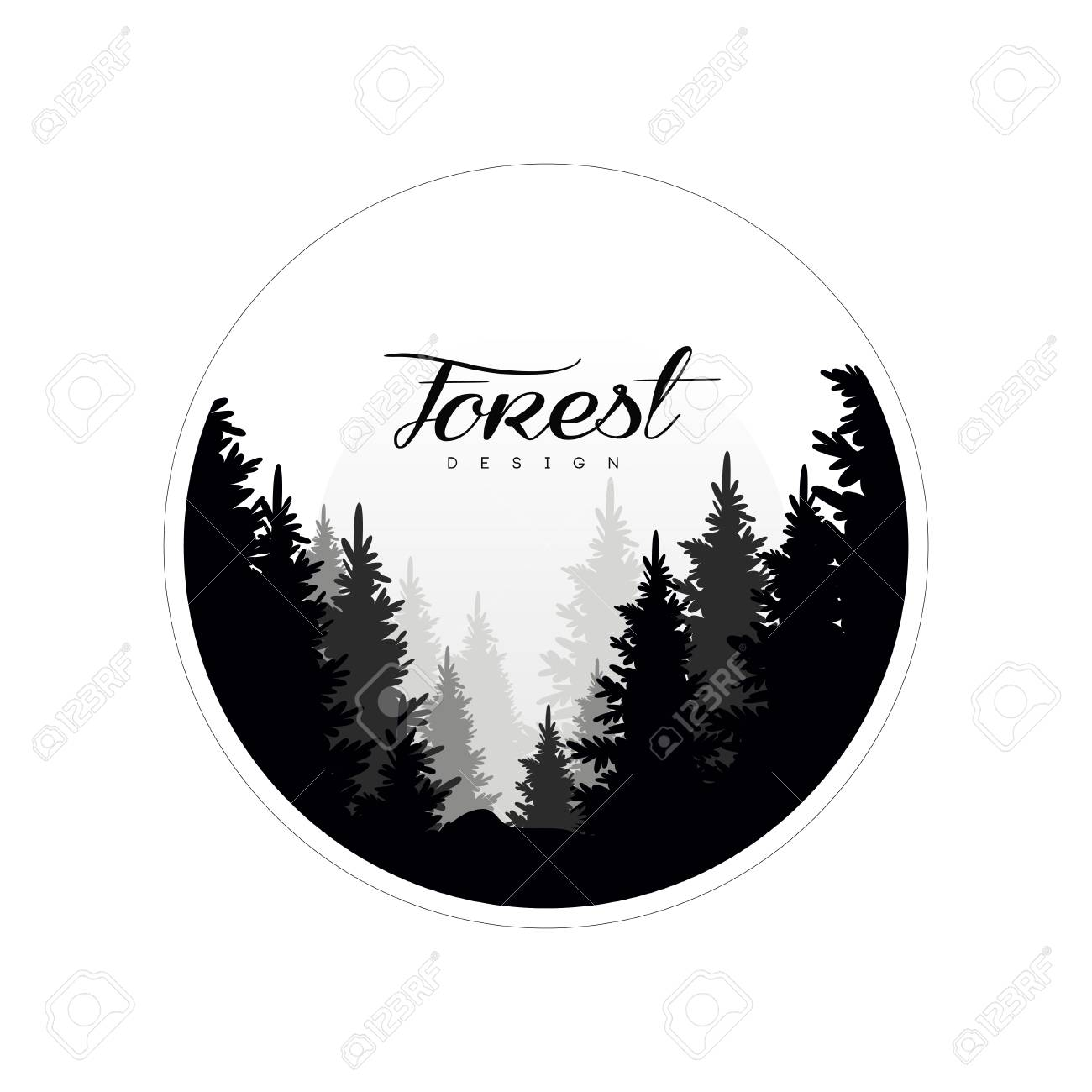 Forest logo design template, beautiful nature landscape with silhouettes of forest coniferous trees in fog, natural scene icon in geometric round shaped design, vector illustration - 96059549