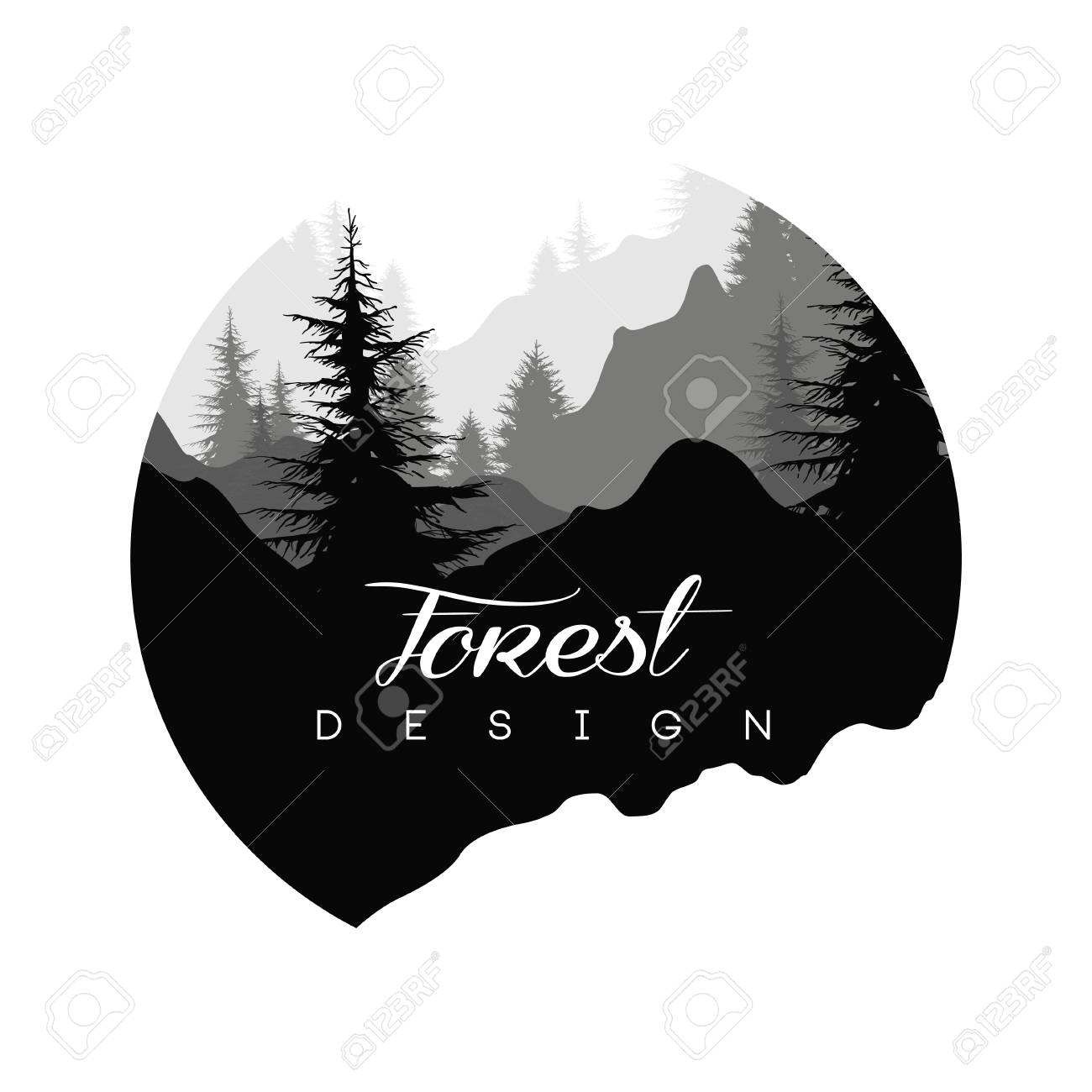 Forest logo design, nature landscape with silhouettes of trees and mountains, natural scene icon in geometric round shaped design, vector illustration in black and white colors - 96059619