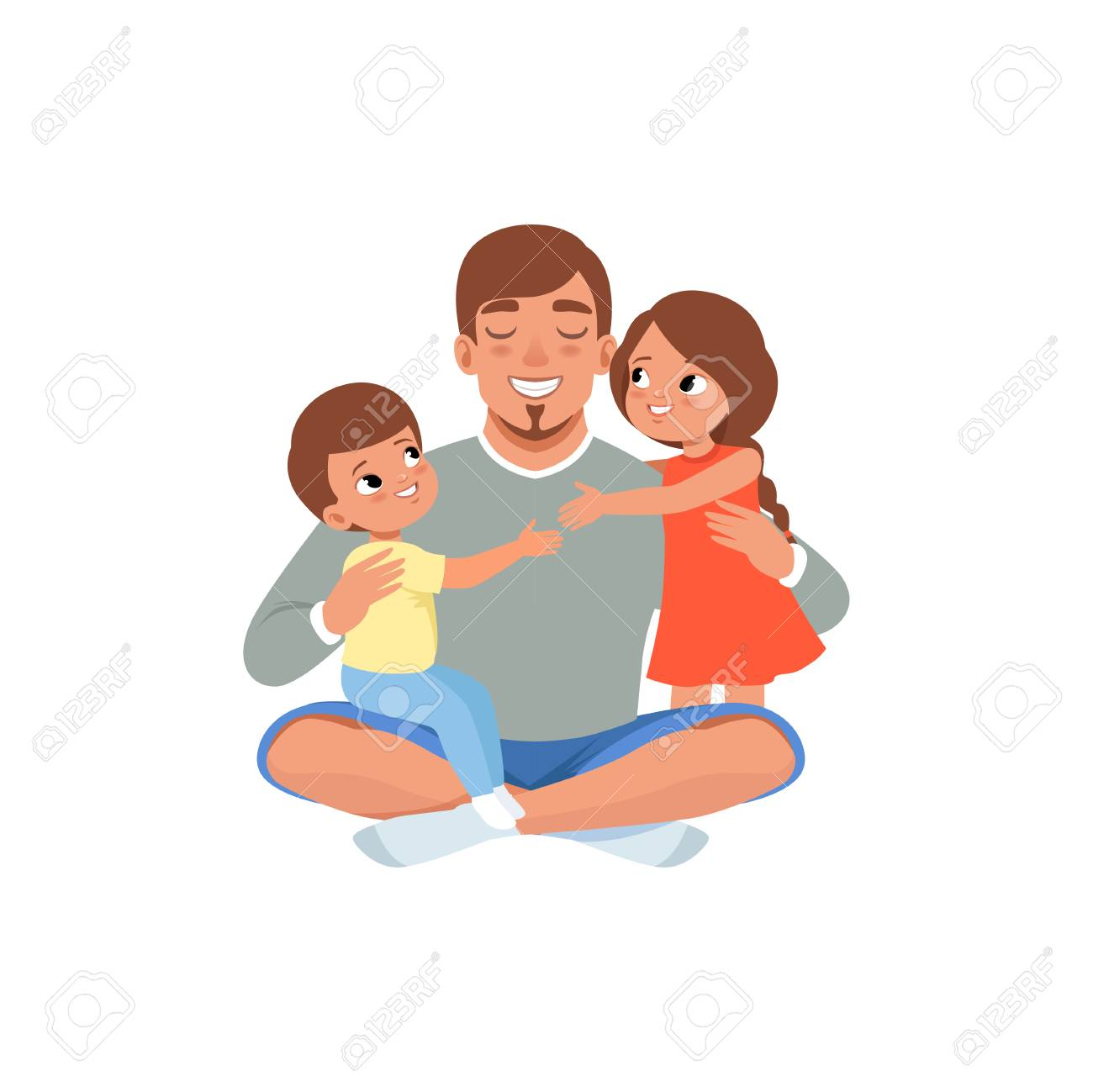 Happy father with his two children , loving dad and kid spending time together vector Illustration isolated on a white background. - 96707804