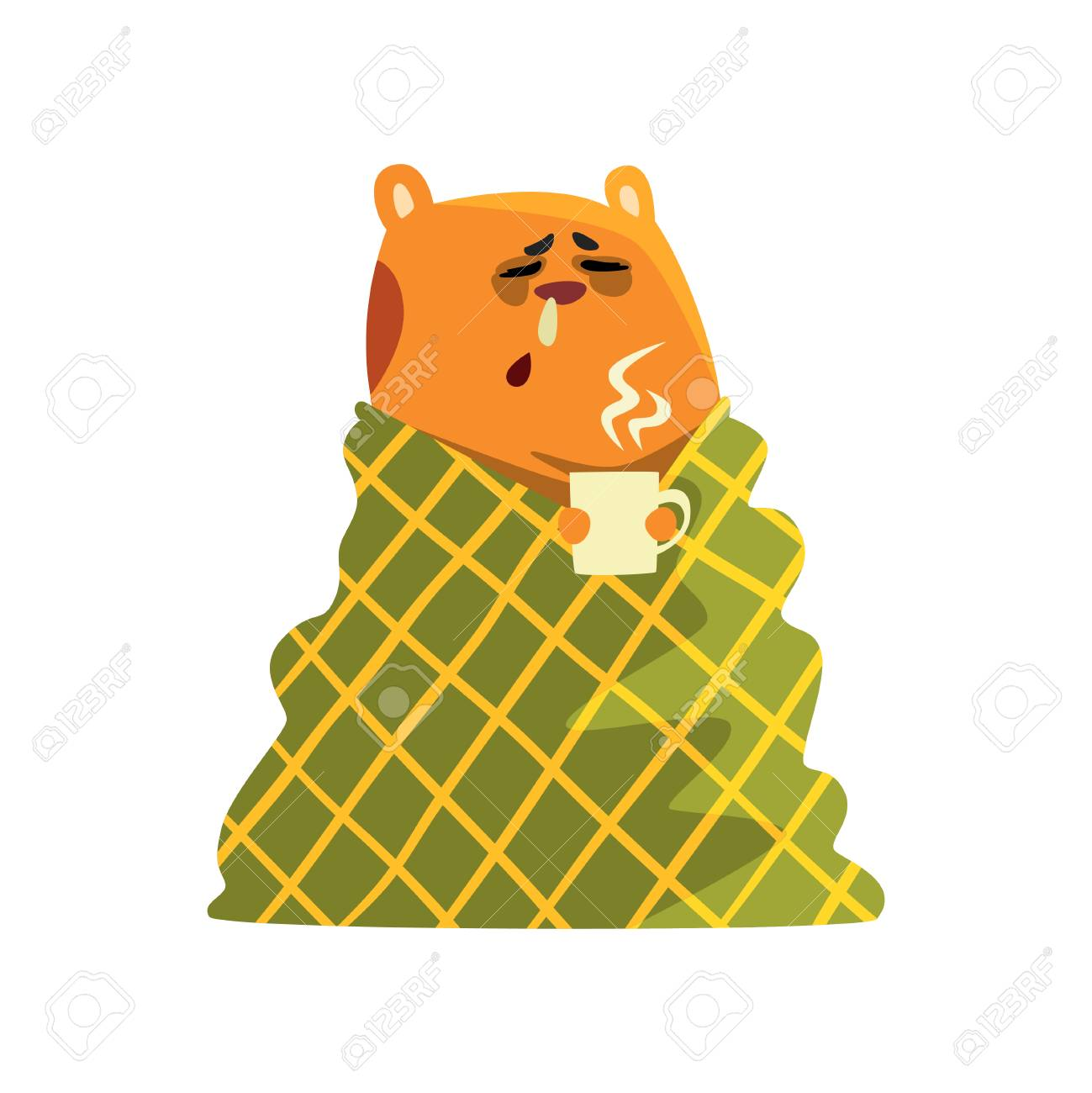 Sick Cartoon Hamster Character With Flu Wrapped In A Blanket Royalty Free Cliparts Vectors And Stock Illustration Image 102384622