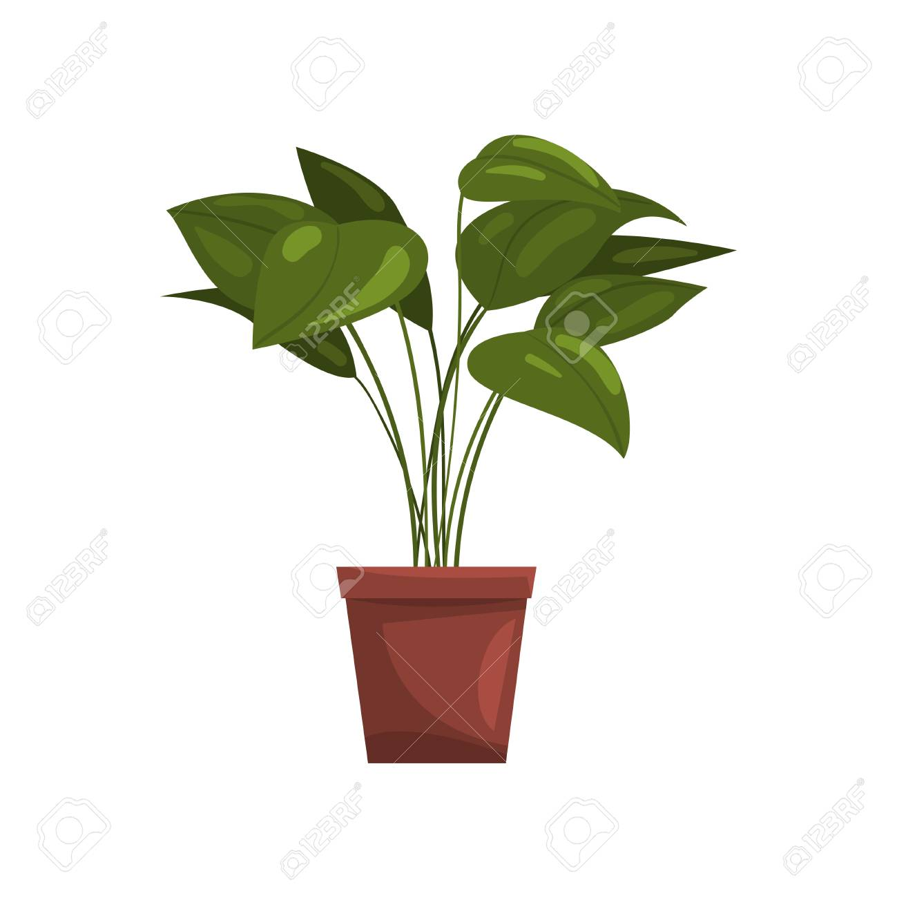 House plant in brown pot, element for decoration home interior vector Illustration on a white background - 97306407