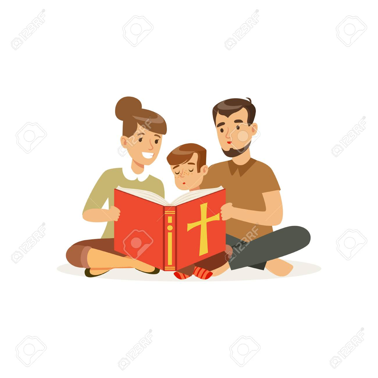 Mother, father and son sitting on floor and reading holy book. Religious family. Parents and child. Cartoon characters of Christian people. Flat vector design - 98788476