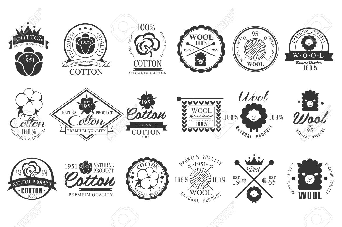 Set of vintage cotton and wool emblems with hand lettering. Natural product. Stylish monochrome labels. Cloth materials. Premium quality. Vector logo design - 97573181