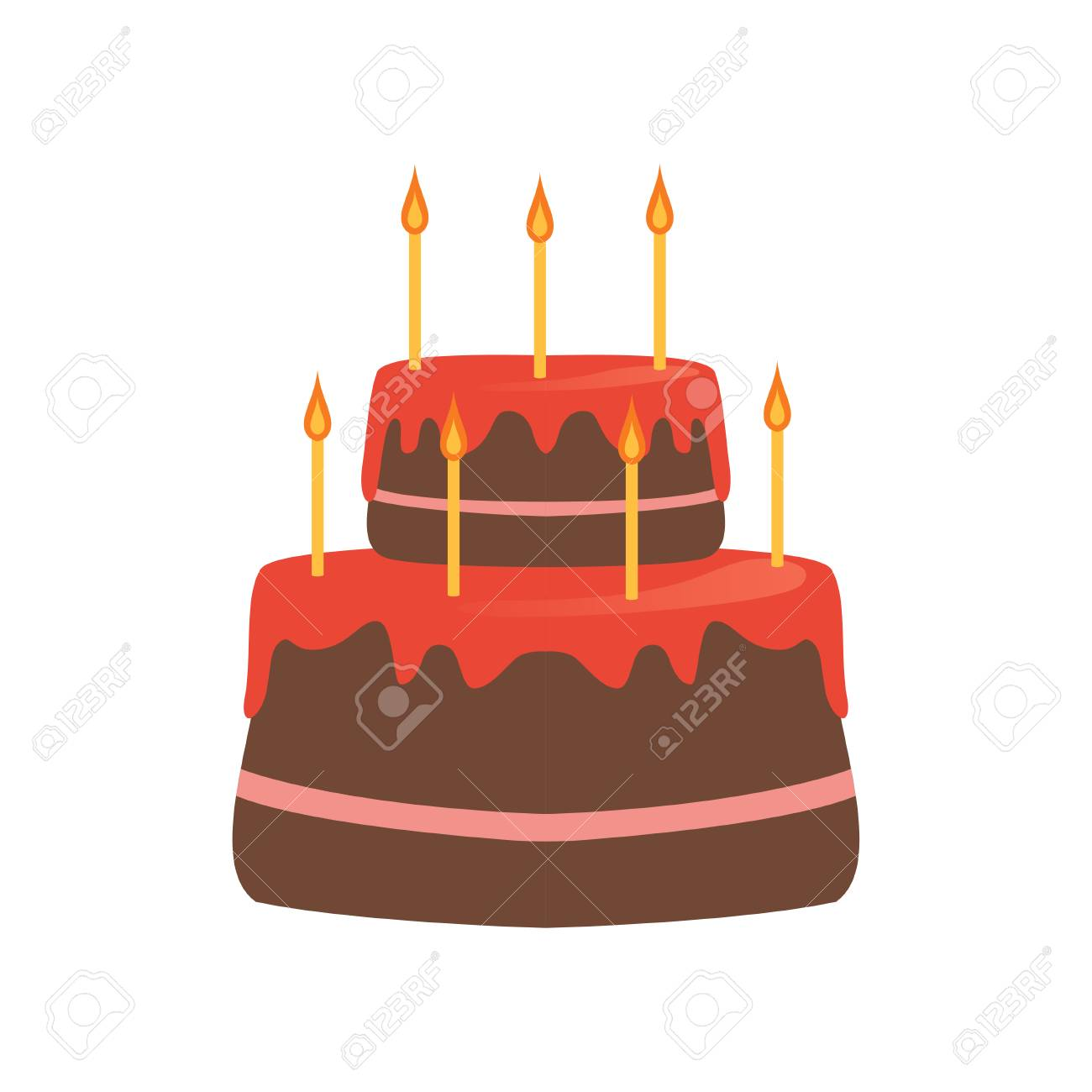 Two Tiered Cake With Red Glaze And Seven Burning Candles Tasty Dessert For Birthday