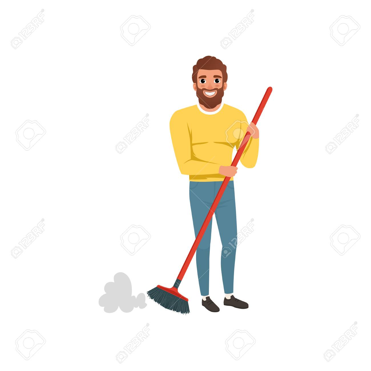 Young Bearded Guy Sweeping Cleaning Floor With Plastic Brush