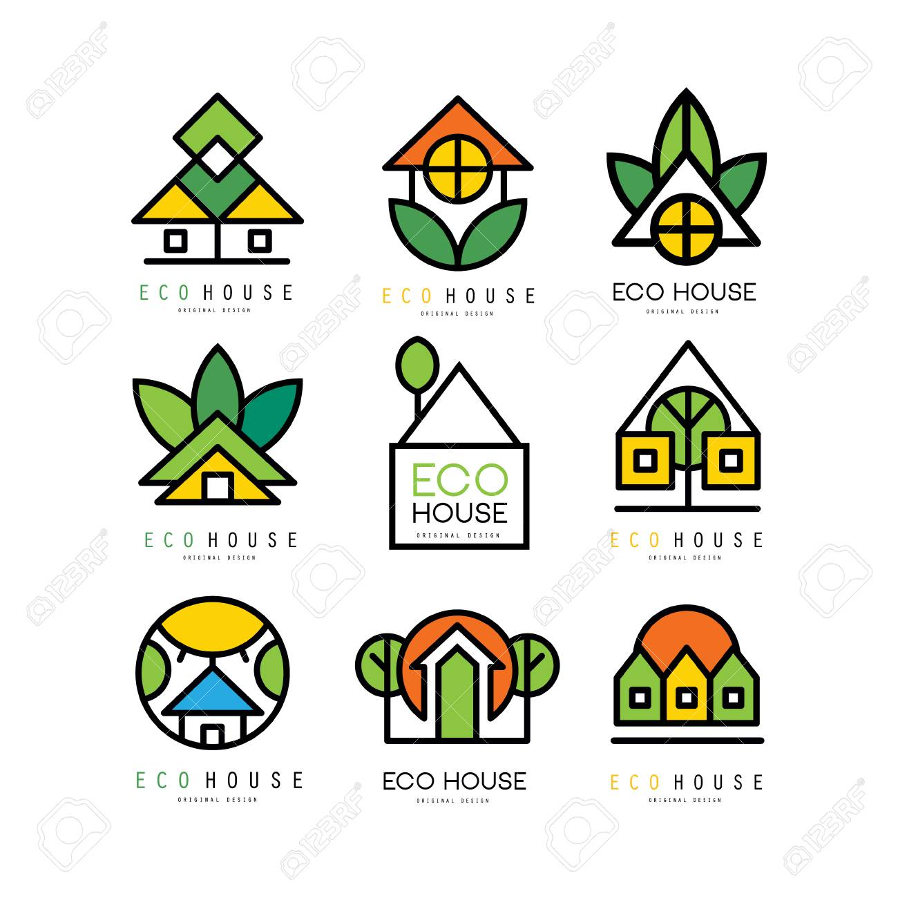 Collection of original logos with eco friendly houses. Ecological construction. Linear emblems for building company, real estate agency or architectural service. Vector illustration isolated on white - 98702125