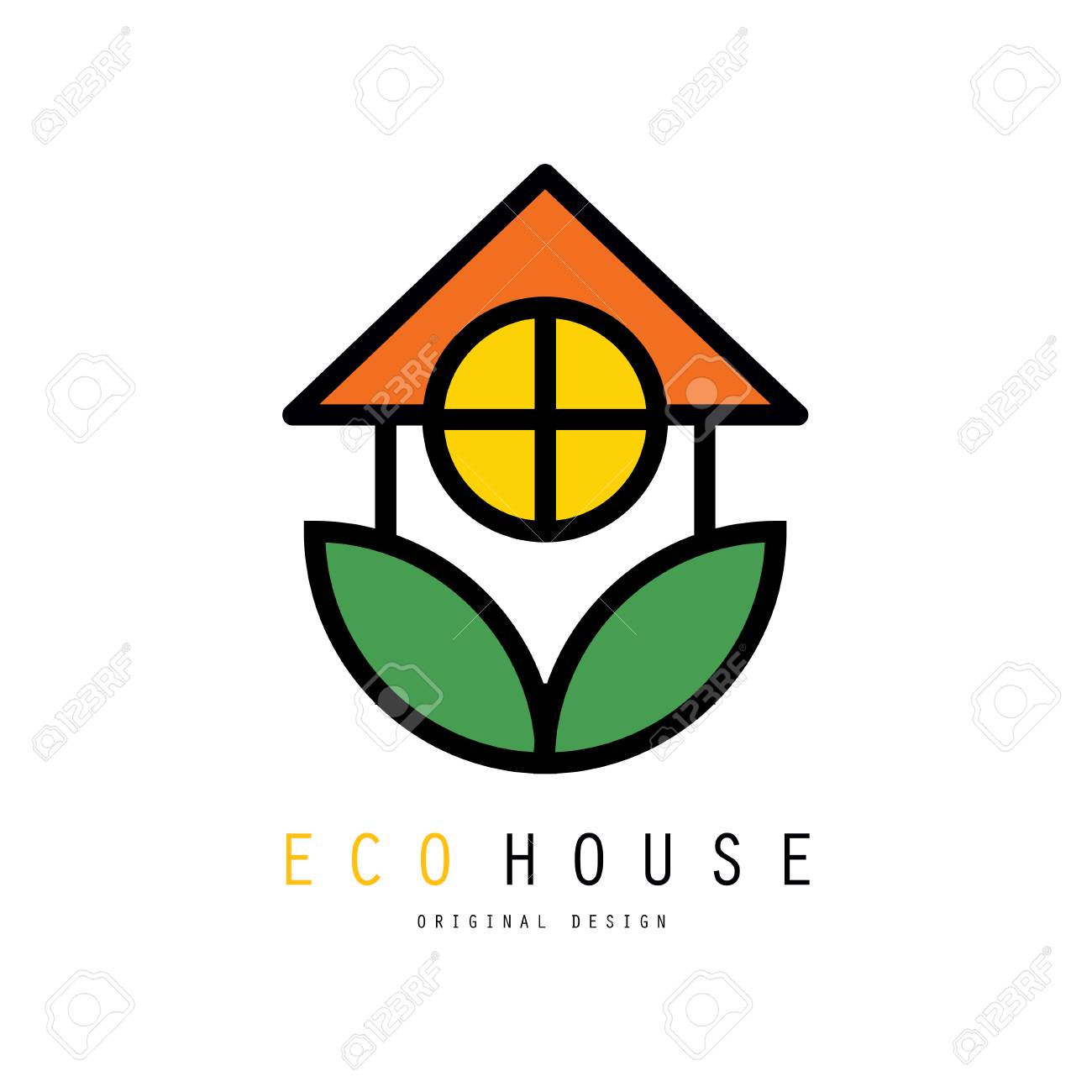 Eco Friendly House Logo Template With Green Leaves. Safe ...