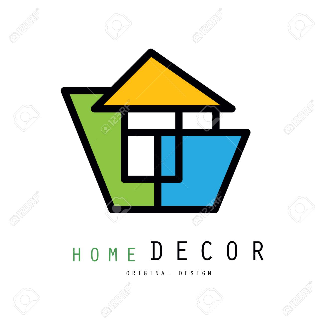 Colorful Logo For Home Decorating Company Or Business Abstract Emblem House Improvement Services