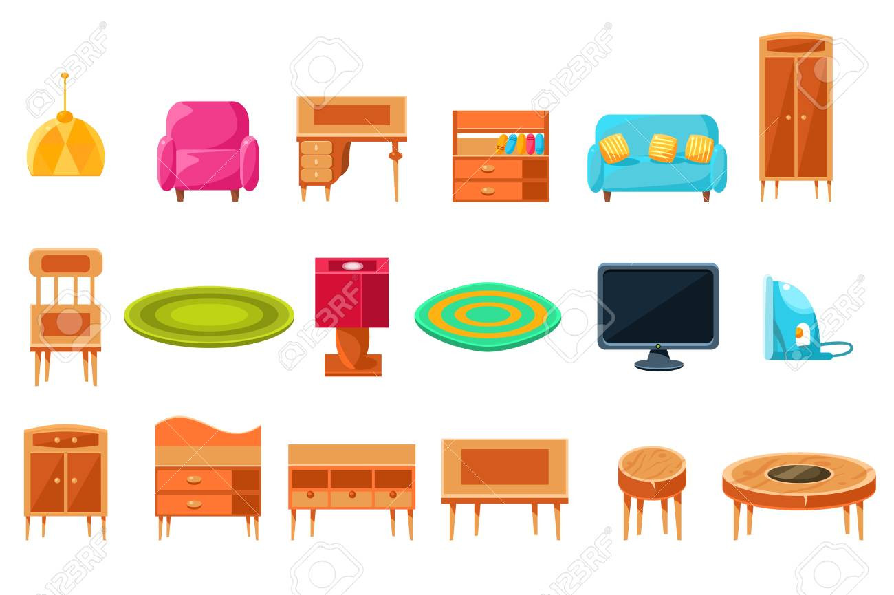 Apartment furniture big set, cabinet or living furniture and accessories vector illustration on a white background. - 98775875