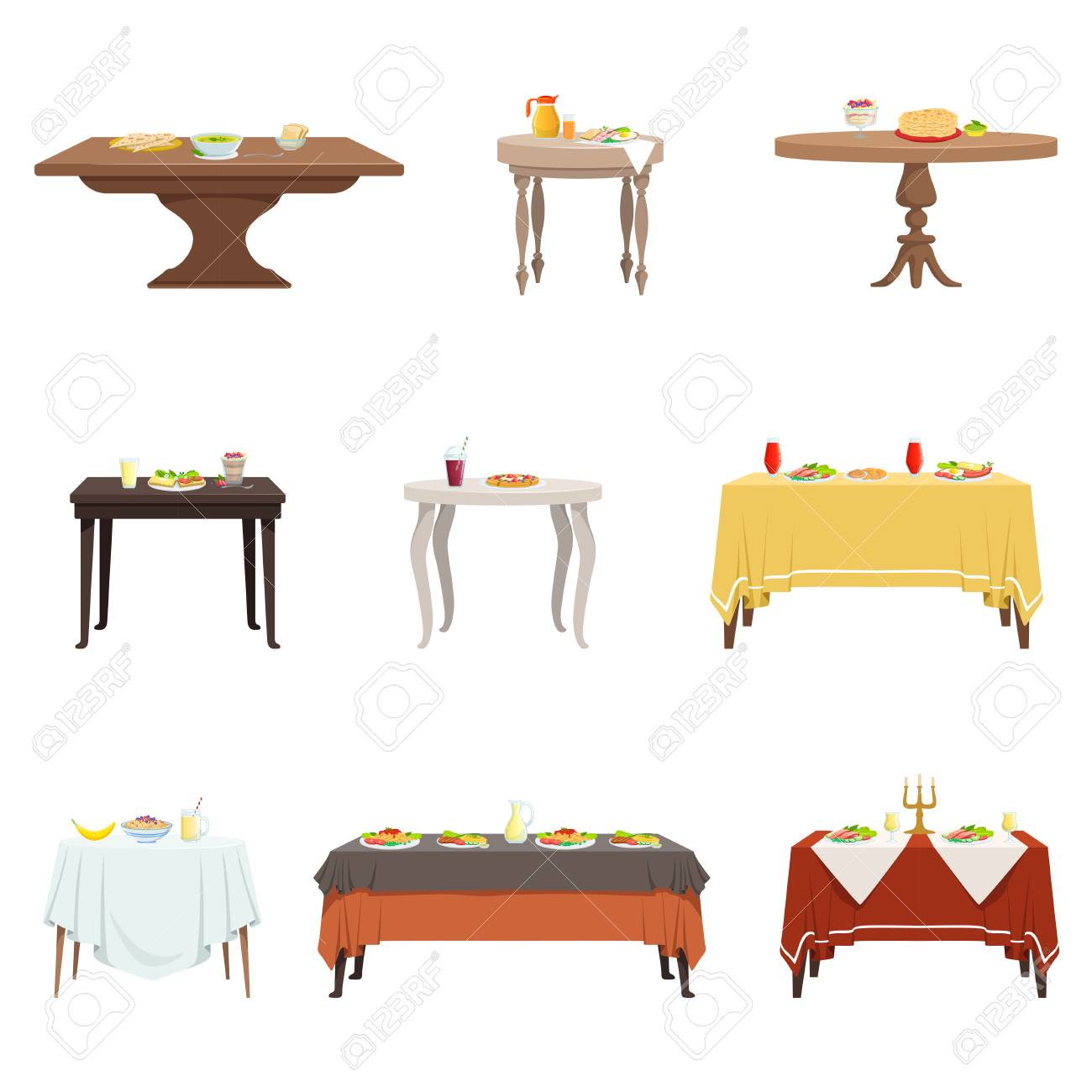 Flat Vector Set Of Wooden Dinner Tables With Various Food And ...