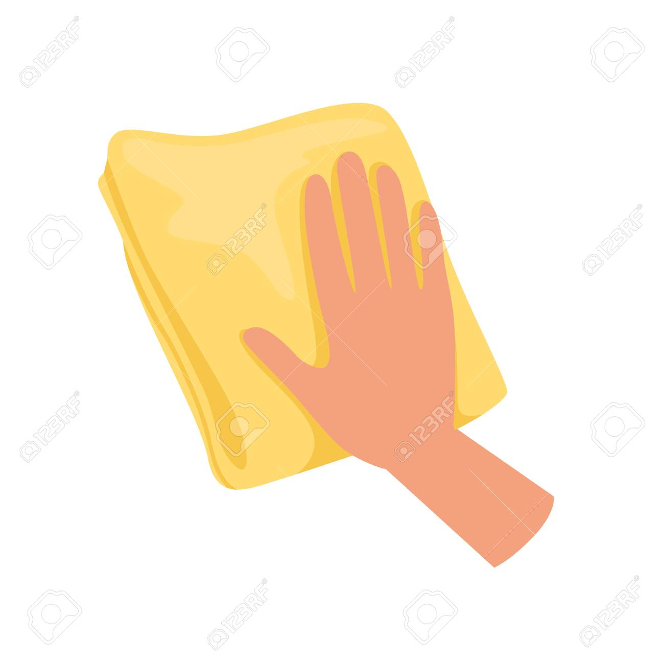 Hand holding yellow rag, human hand with tool for cleaning, housework concept vector Illustration isolated on a white background. - 99561114
