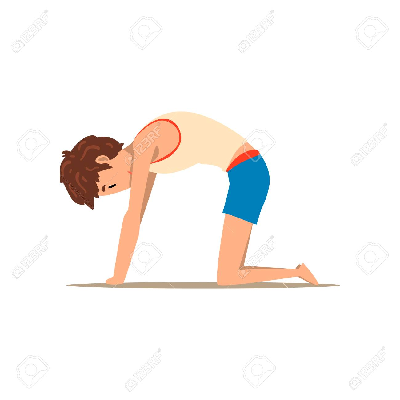 Boy In Cat Yoga Pose Marjaryasana Rehabilitation Exercise For Royalty Free Cliparts Vectors And Stock Illustration Image 99792680