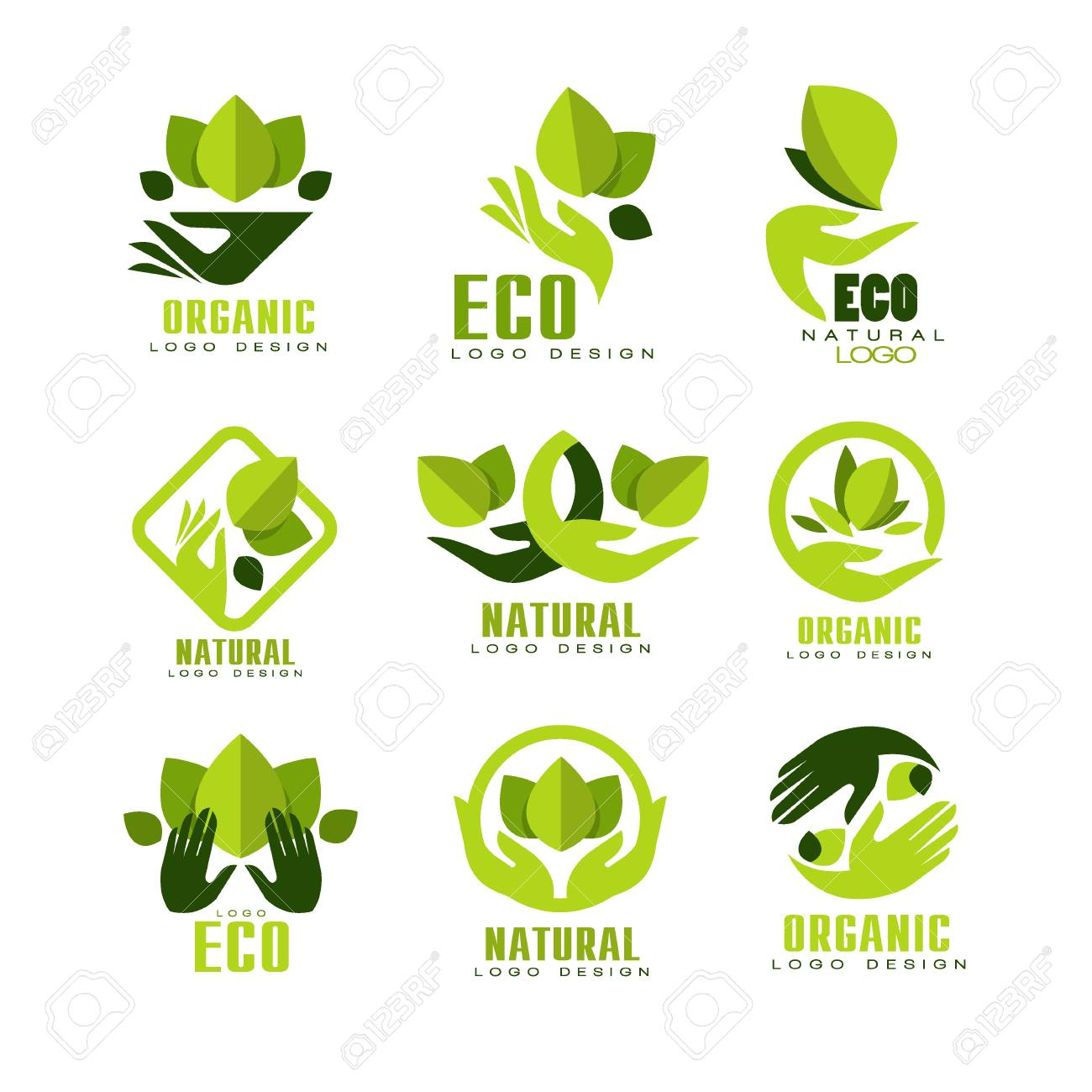 Eco, organic logo design set, premium quality natural product label , emblem for cafe, packaging, restaurant, farm products vector Illustrations on a white background - 99729344