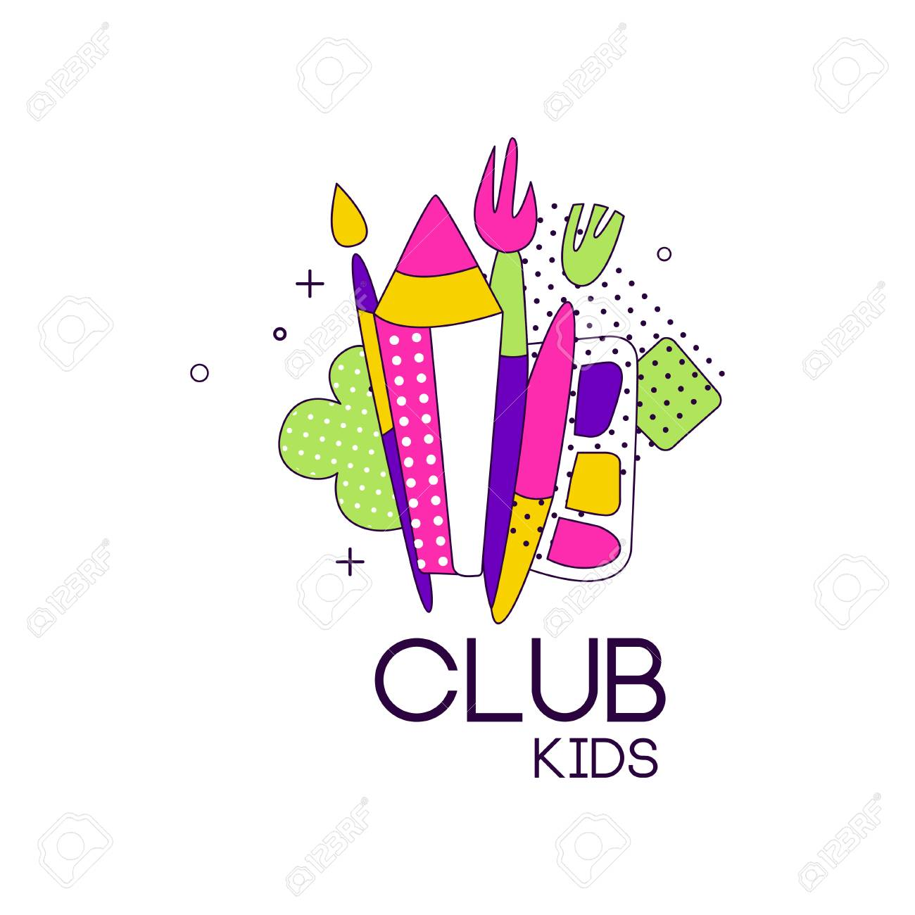 Kids Club Icon Label For Development Educational Or Sport Center