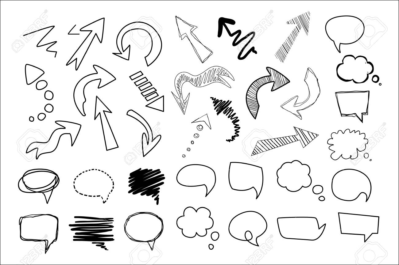 Hand drawn speech and thought bubbles big set, design elements collection vector illustration on a white background. - 99993282