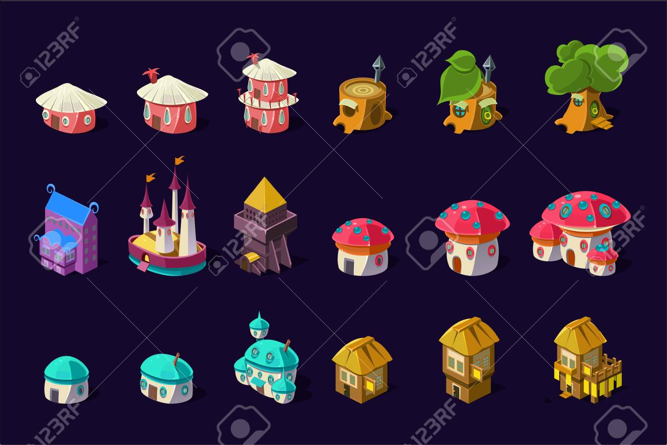 Collection of colorful buildings for online mobile game. Cartoon fairy houses in shapes of trees and mushrooms. Cute princess castle. Gaming resources. Flat vector icons isolated on purple background. - 100129972