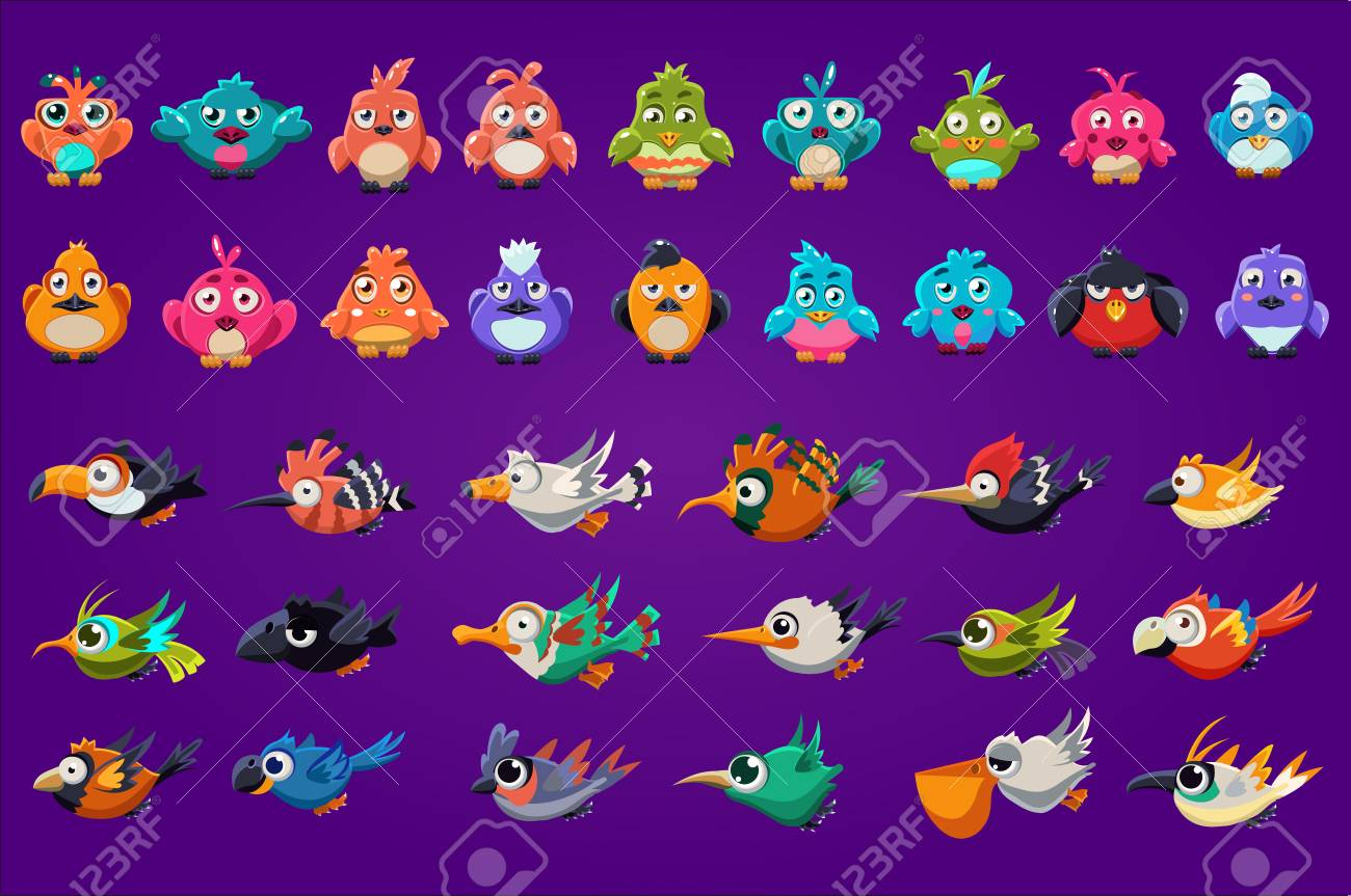 Collection of cartoon birds. Funny creatures with big shiny eyes. Gaming assets. Colorful graphic elements for computer or mobile game interface. Flat vector illustration isolated on purple background - 100131341