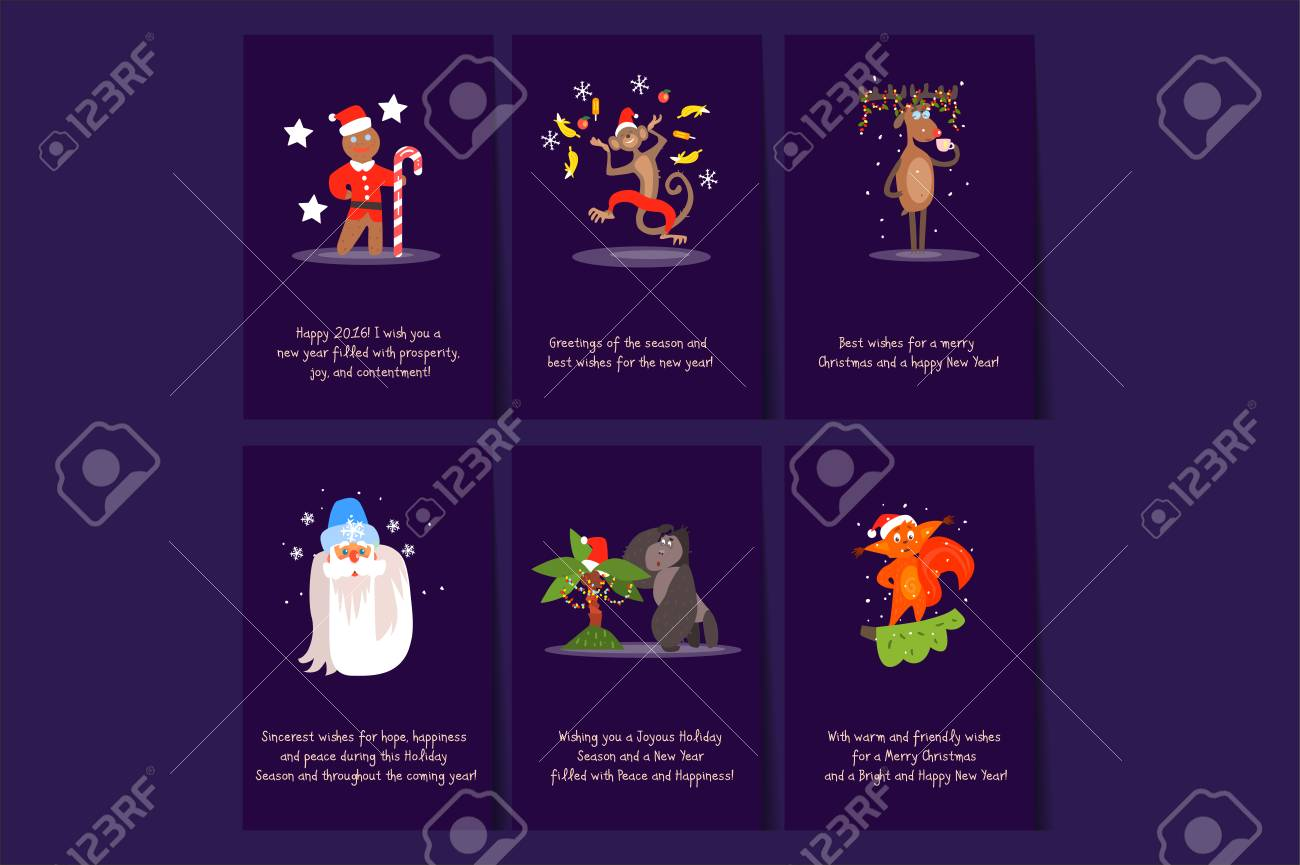Collection Of 6 Christmas Card Templates. Postcards With ...