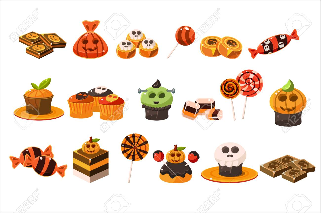 Colorful flat vector set of various Halloween sweets. Lollipops, delicious cupcakes and chocolate. Tasty desserts. Trick or treat - 100271372