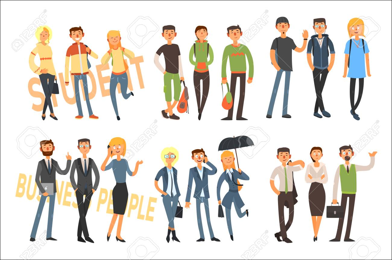 Cheerful students and business people. Young girls and guys in casual outfit. Office workers in formal clothes. Flat vector set - 100271380